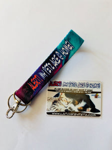 PET ALERT WICKED PURPLE KEY FOB WRISTLET KEYCHAIN KIT