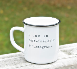 instagram lover gifts i run on caffeine mug