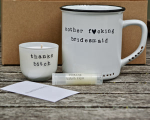 bridesmaid camping gift wedding party mugs