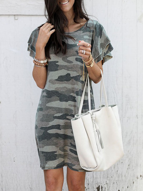 Camouflage Short Sleeve Mini Dress