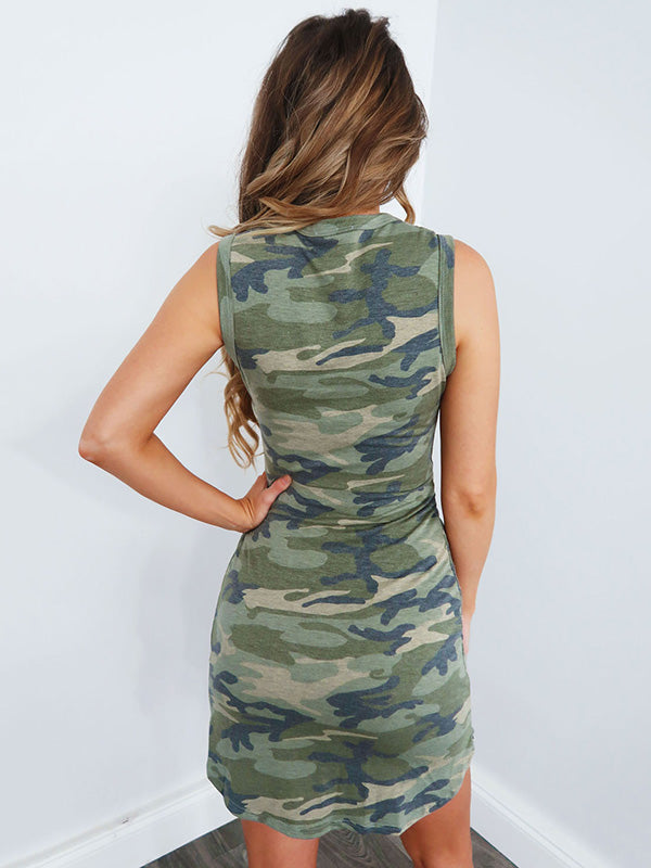 Camouflage Sports Sleeveless Waisted Mini Dress