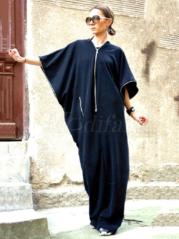Navy-blue Zipper Batwing Sleeves Long Dress