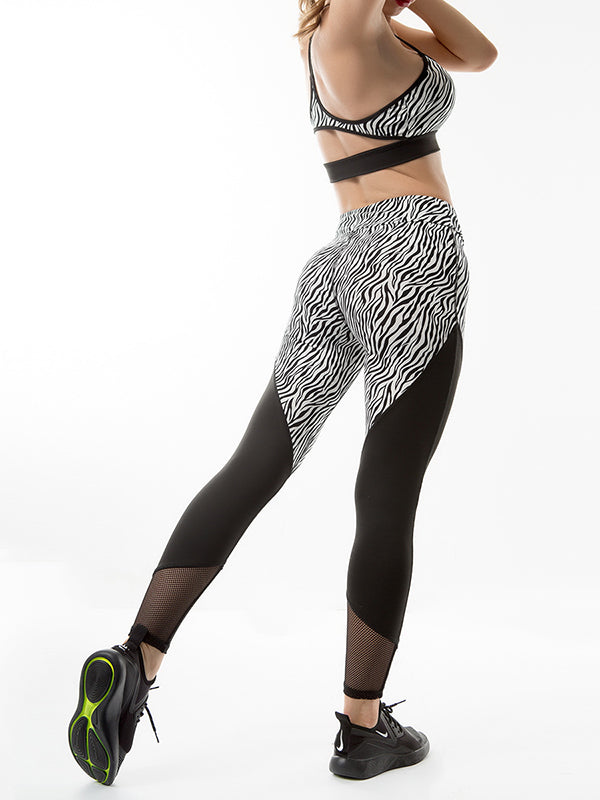 Zebra-print Yoga Leggings