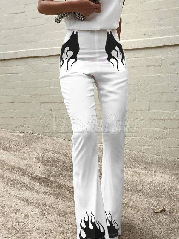 Fashion White Printed Casual Pants