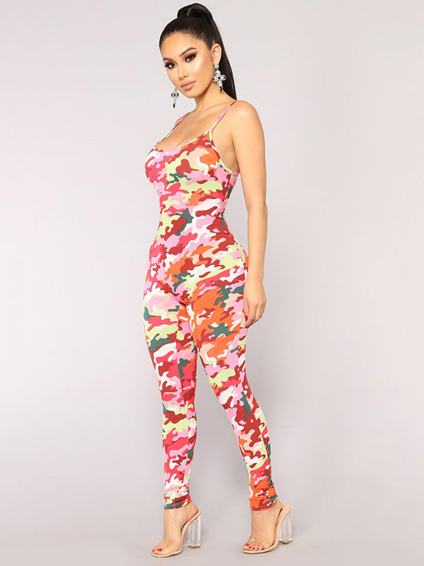 Spaghetti-neck Printed Jumpsuits