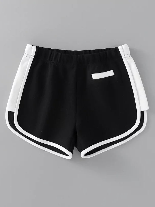 Two Tone Contrast Trim Sport Shorts