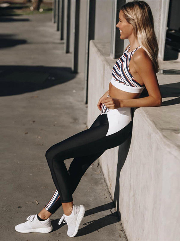 Stripe Cut Out Yoga Gym Bra And Legging Suits