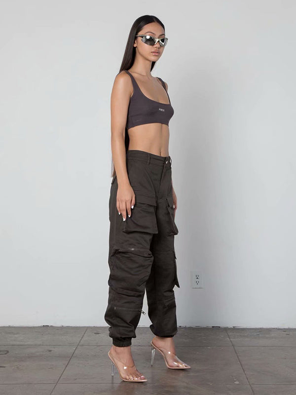 Zipper Pockets Cargo Pants