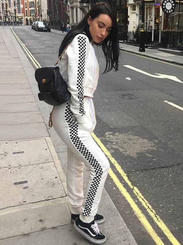 Black and White Checked Zip-up Yoga&Gym Suits