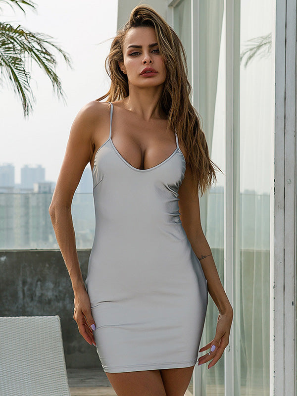 Deep V-neck Slim Tight Mini Dress