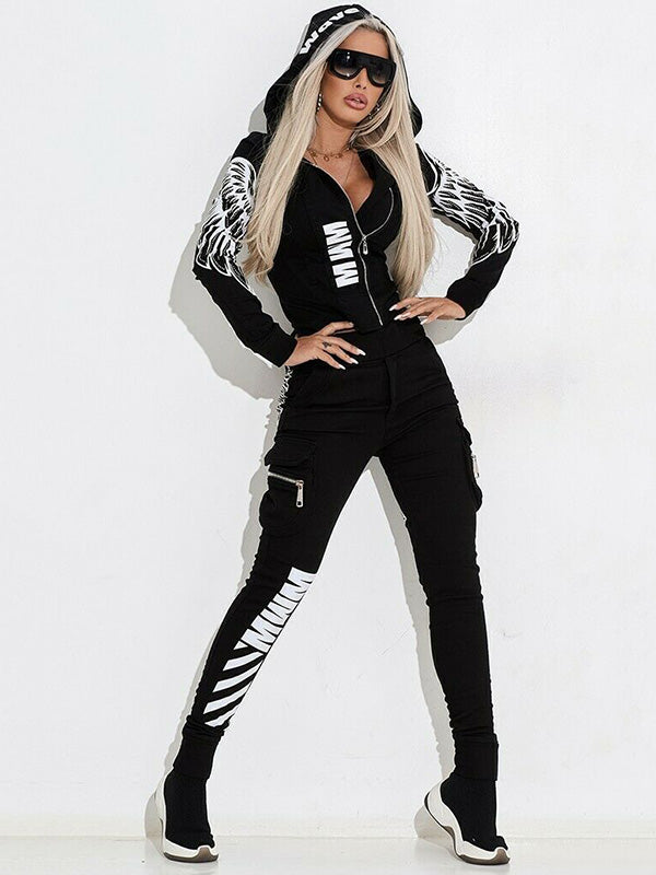 Wing Printed Hooded Zipper Jackets And Pants Suits