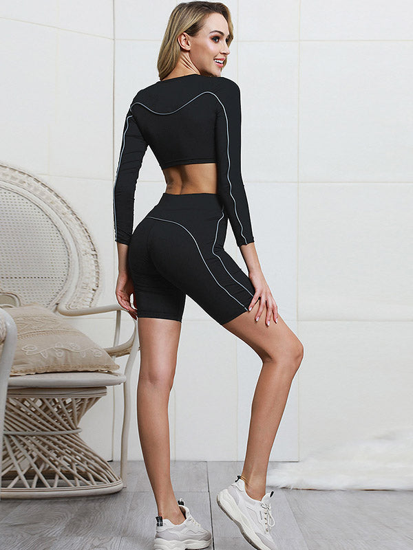 Tight Solid Color Reflective Strip Suit Yoga&Gym Suits