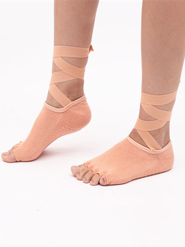 Backless five fingers Lace-up Yoga Socks