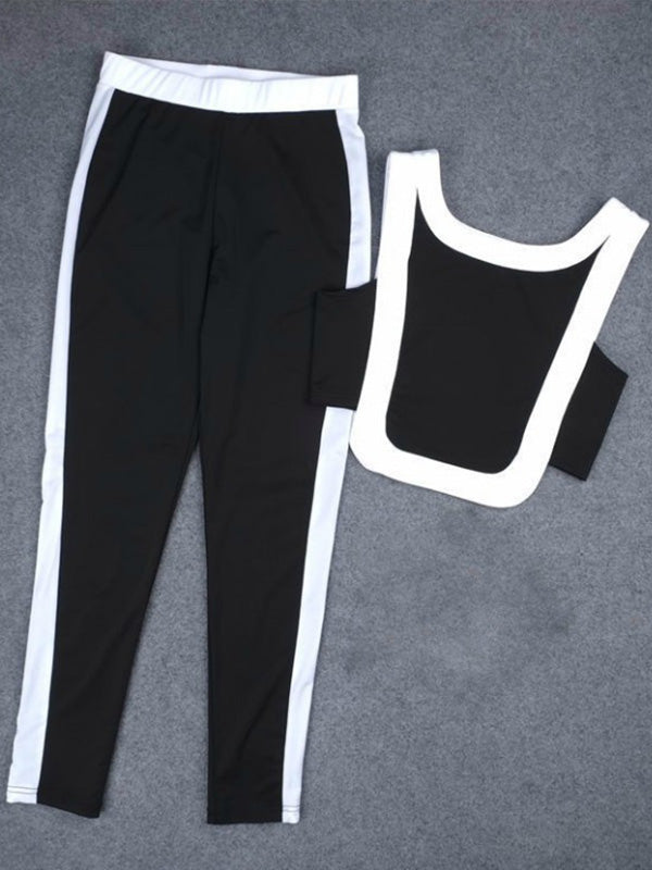 Two Tone Gym Tank And Leggings Suits