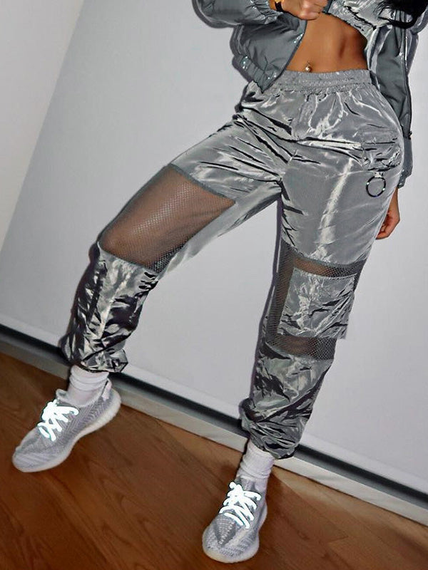 Mesh Patchwork Pocket Jogger Pants