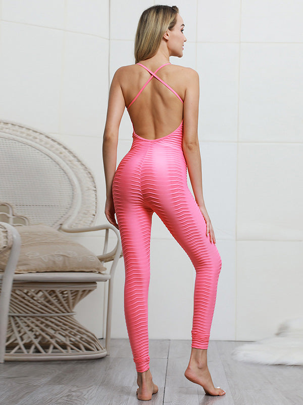 Solid Backless Yoga Jumpsuits