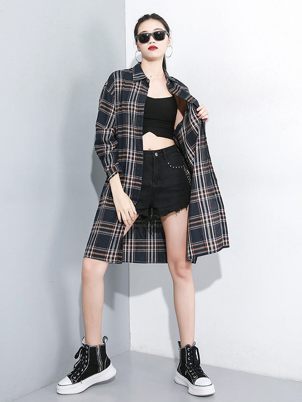 Loose Retro Lapel Plaid Shirt Dress