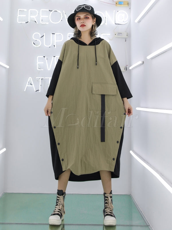 Casual Split-joint Long Hoodie Dress