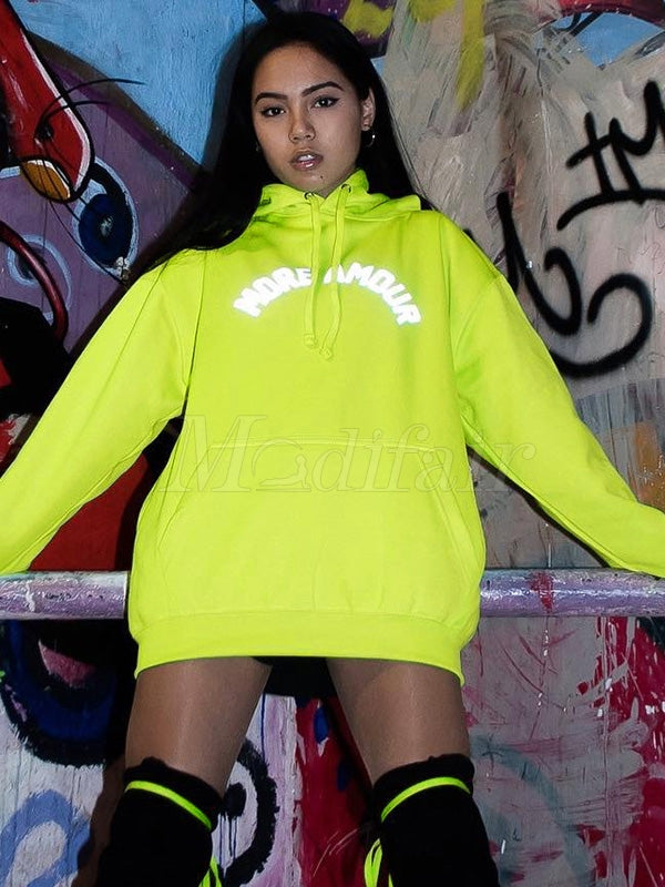 Loose Reflective Letter Printed Sweatshirt