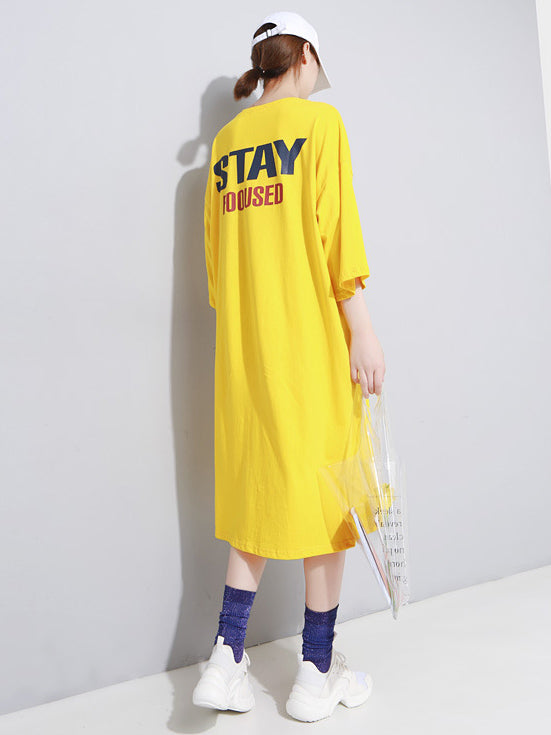 Back Letter Printed Loose T-shirt Midi Dress