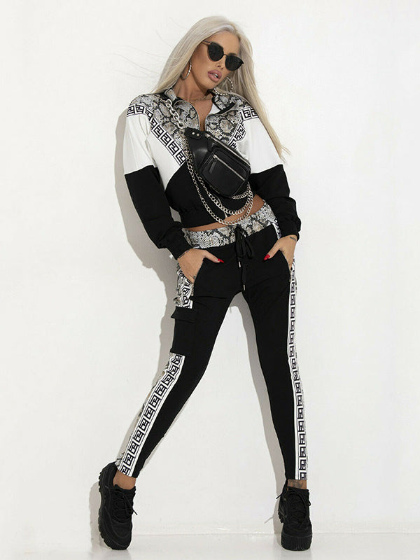 Snake Skin Patchwork Fashion Yoga&Gym Suits
