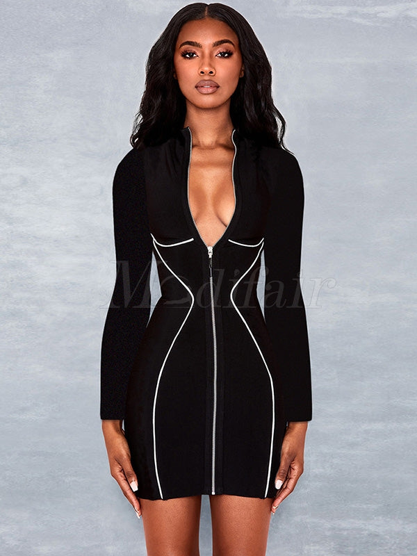 Reflective Hip-Package Zipper Mini Dress