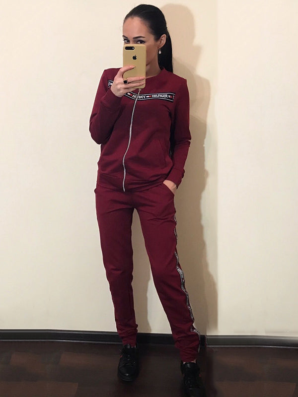 Split-joint Long Sleeves Cardigan Top And Sports Pants Suit