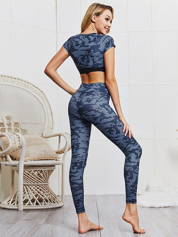 Camo Printed Cropped Tanks And Leggings Suits
