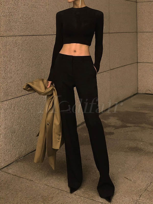 Solid Black Long Pants