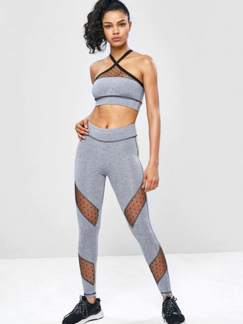 Mesh Panel Marled Cross Yoga Suits