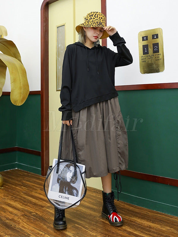 Retro False Two Split-joint Drawstring Sweatshirt Dress
