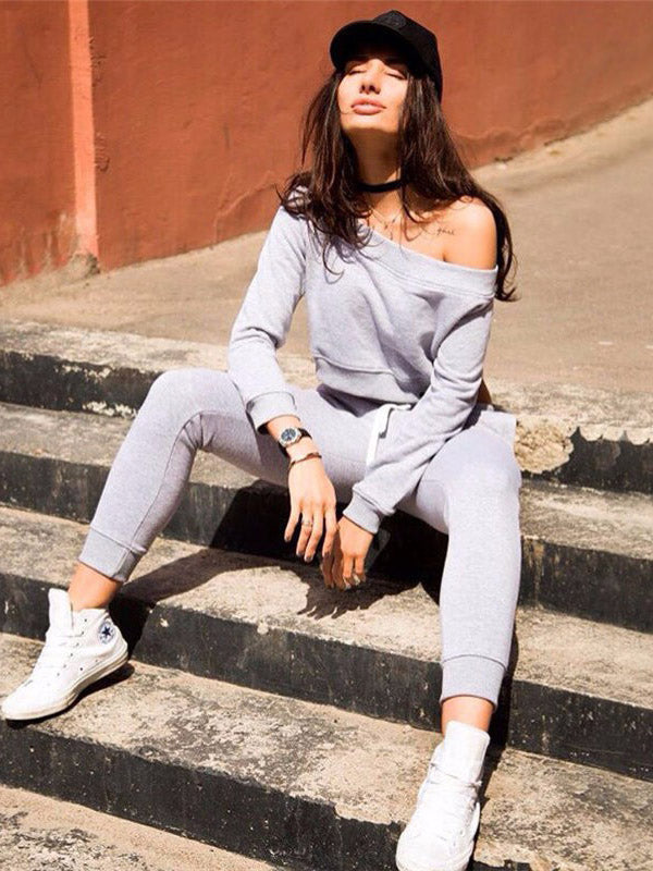 Off The Shoulder Crop Sweatshirt And Pants Casual Suits