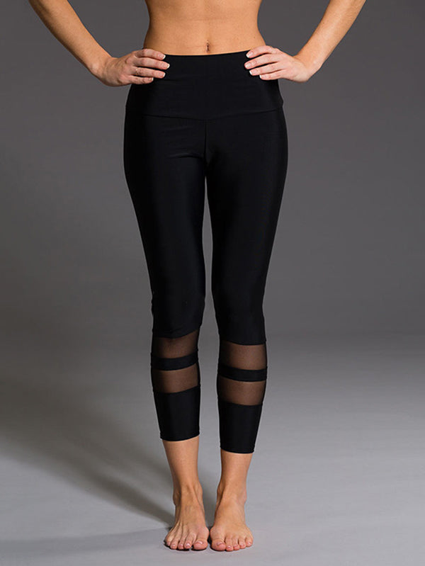 Color Contrast Double Loop Mesh Stitching Leggings
