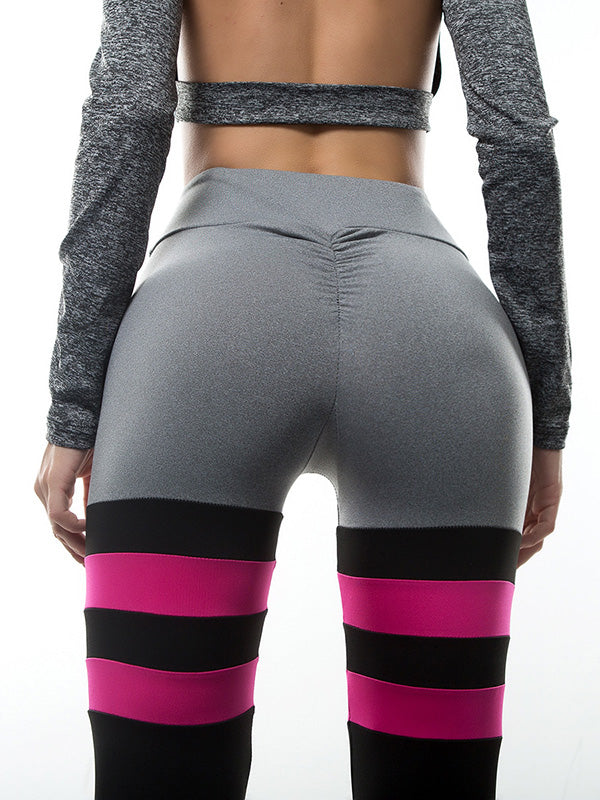 Elastic Color Block Gym Leggings