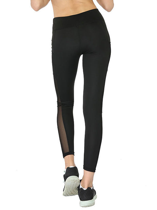 Mesh Stiching Side Pocket  Sports Leggings