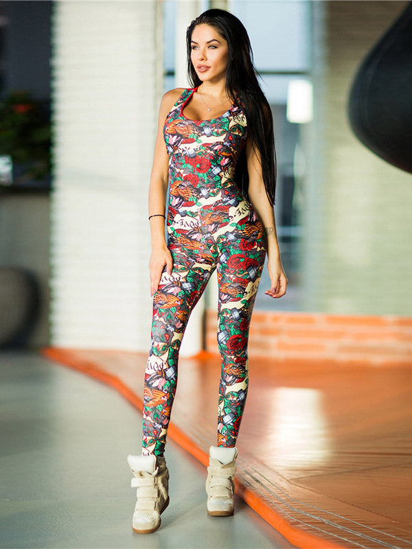 Sports Printed Cross Strappy Jumpsuits