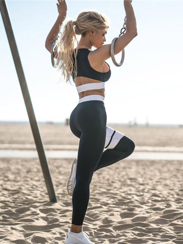 Solid Sports Tee& Fitness Leggings Suits