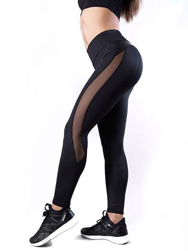 Sports Imitation Leather Panel Leggings