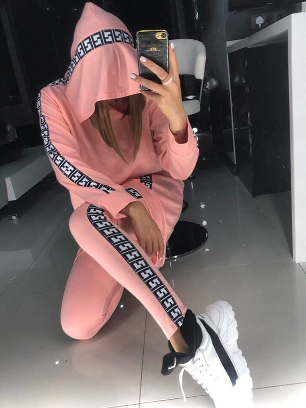 Hooded Contrast Sweatershirt And Leggings Suits