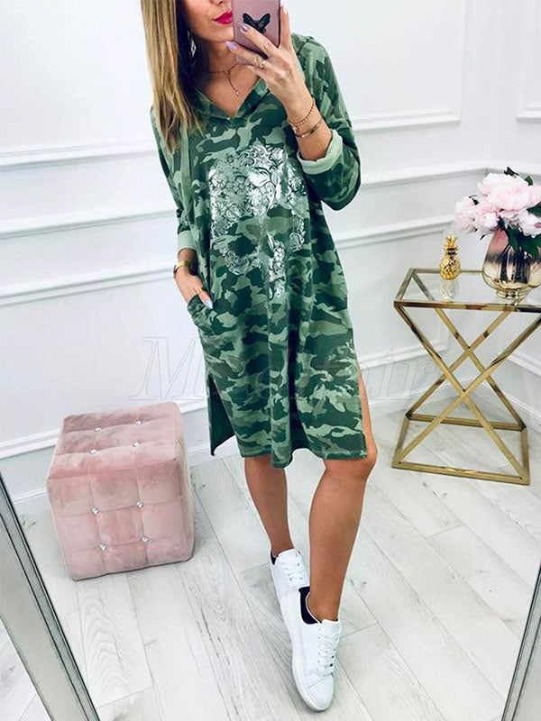 Loose Split-side Printed Hoodie Dress