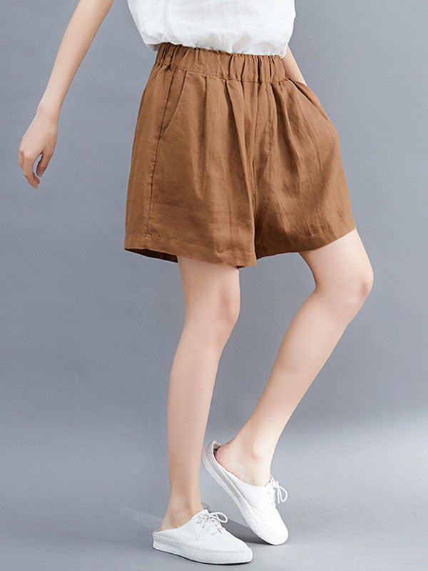Casual A-line Linen Shorts