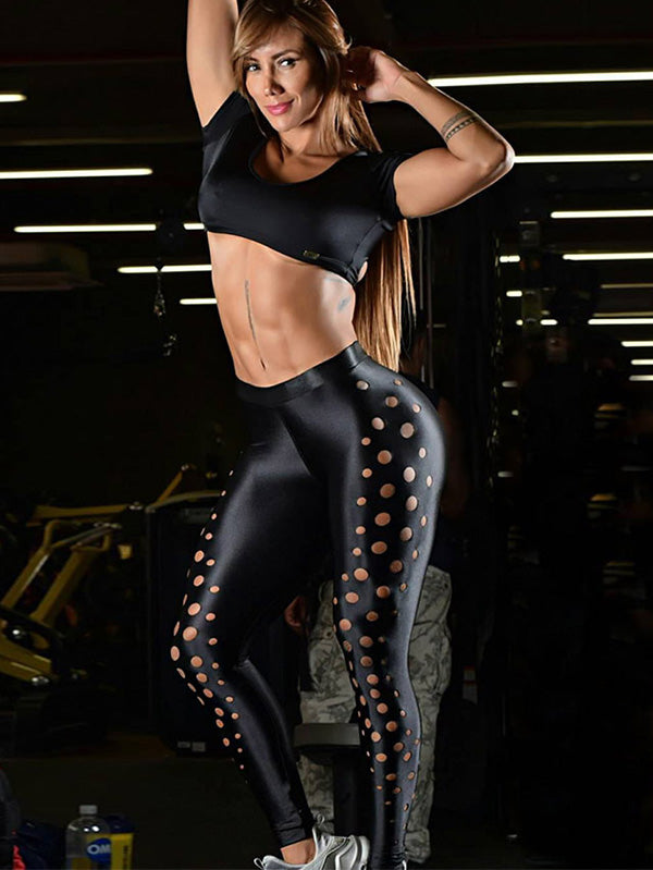 Perforated Wide Waistband Yoga Leggings