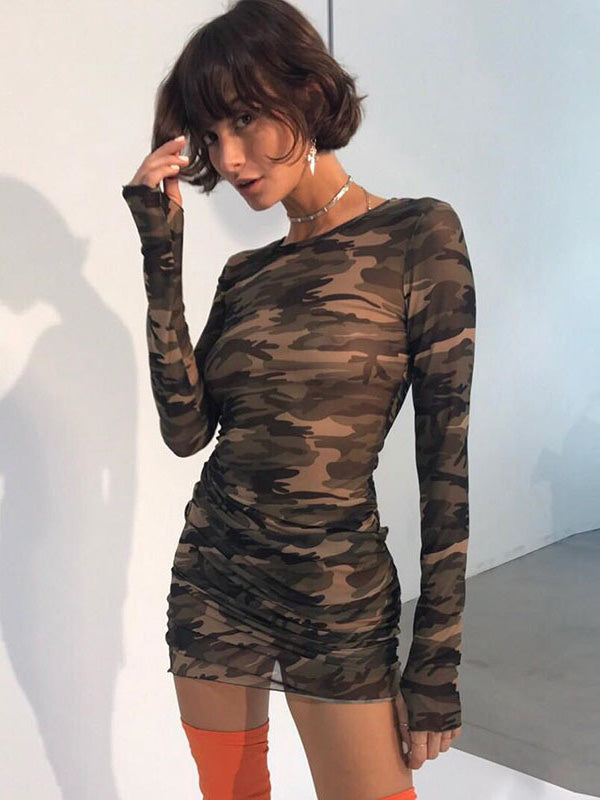 Sexy Long Sleeves Camouflage Mini Dresses