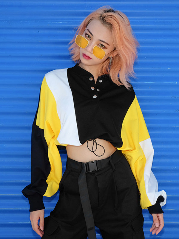 Long Sleeve Color-Block Crop Sweatershirts