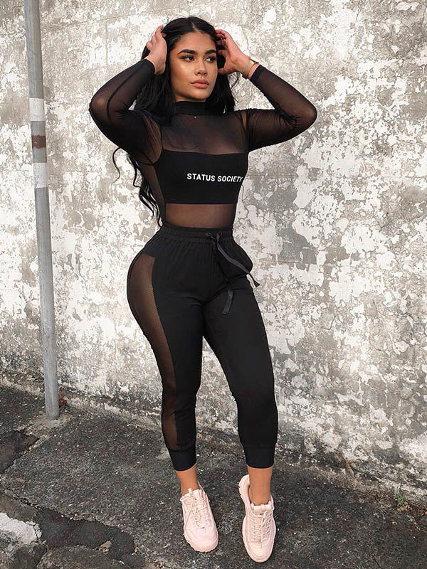 Letter Printed Mesh Tees And Leggings Suits