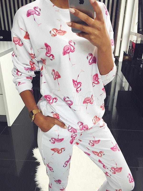 Flamingo Printed Tee&Pants Sports Suits