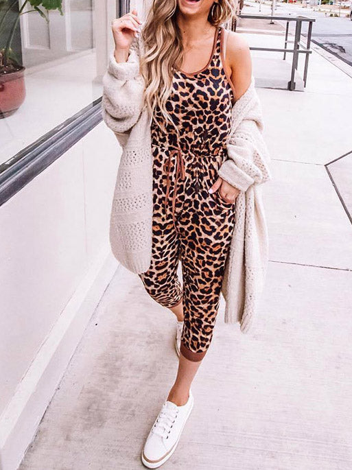 Casual Leopard Sleeveless Jumsuits
