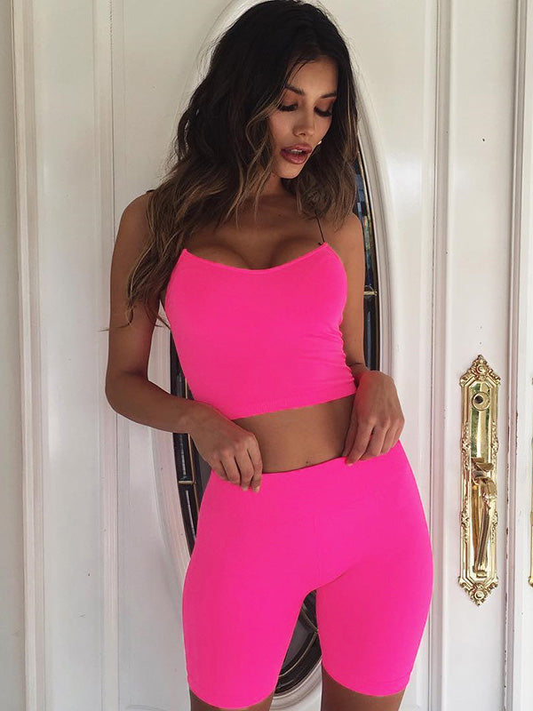 Narrow Straps Top And Solid Sports Shorts Suits