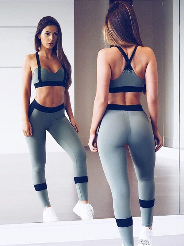 Insert Cross Gym Bra And Leggings Suits