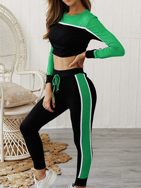 Paneled Long Sleeve Crop Tees And Track Pants Suits